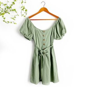 NWOT Green Olive Button Up Dress w Ballon Sleeves